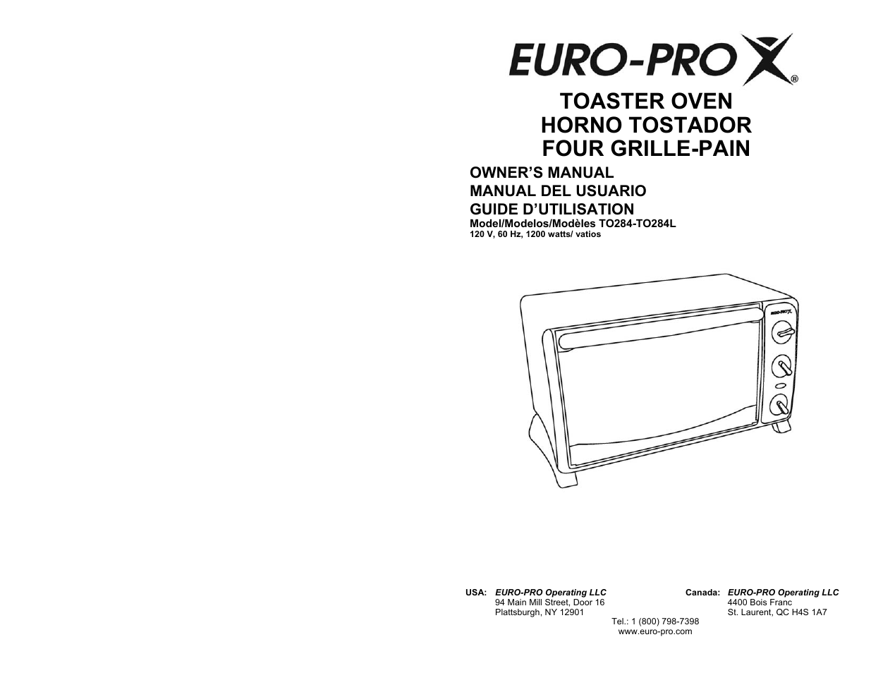 euro pro to284l user manual 16 pages also for to284 rh manualsdir com Euro-Pro Toaster Oven at Walmart Euro-Pro Deep Fryer