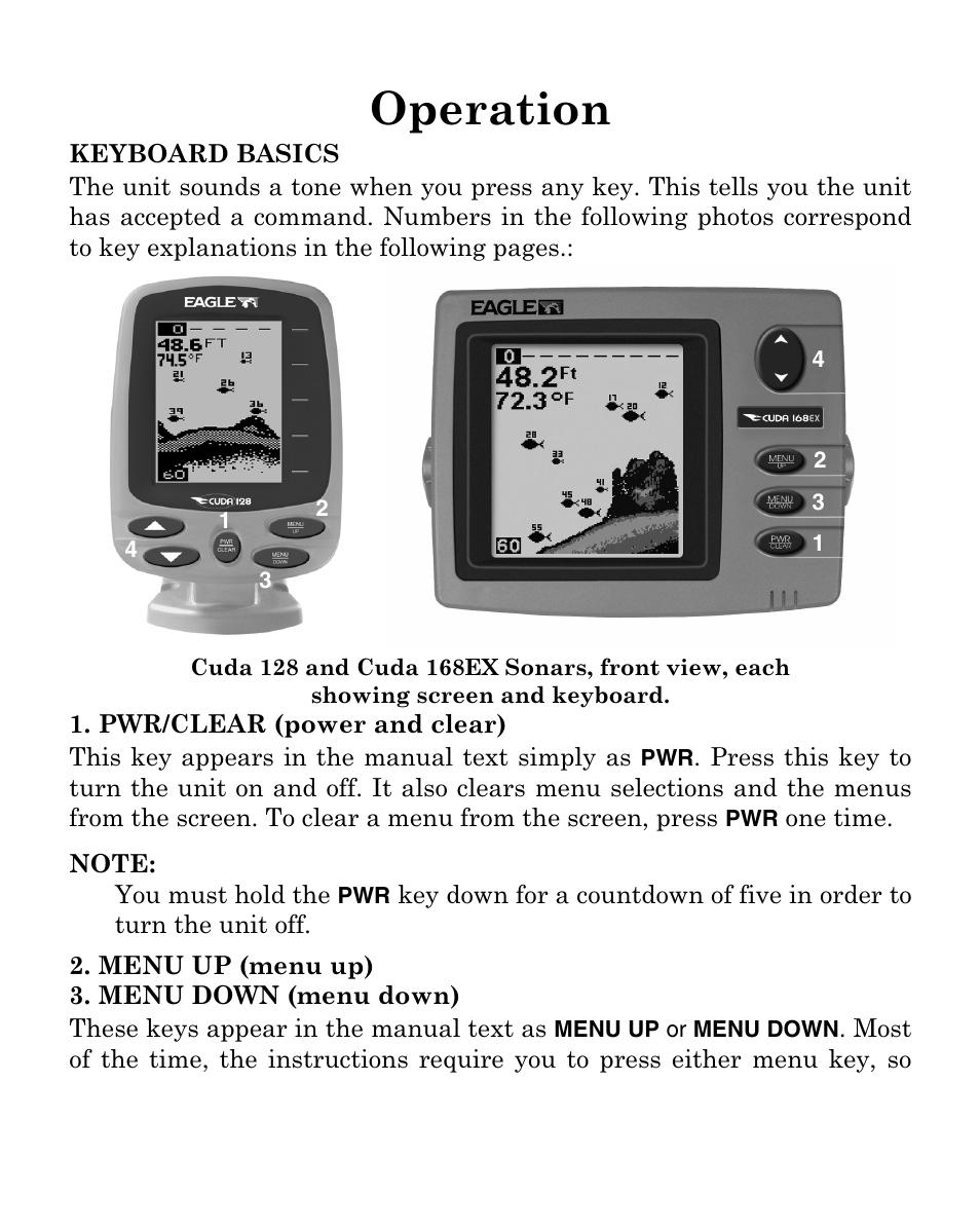 Operation | Eagle Electronics Cuda 128 Portable User Manual | Page ...