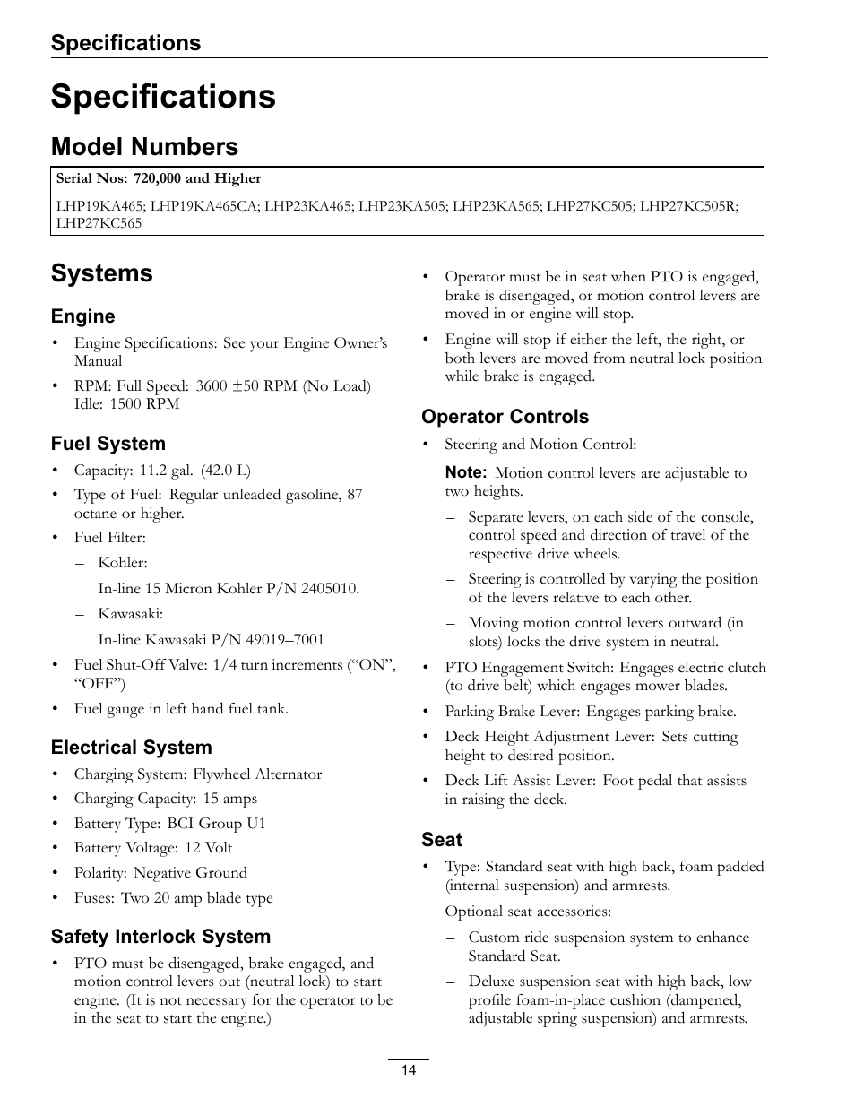 Specifications, Model numbers systems, Model numbers | Exmark Lazer Z HP  565 User Manual | Page 14 / 48