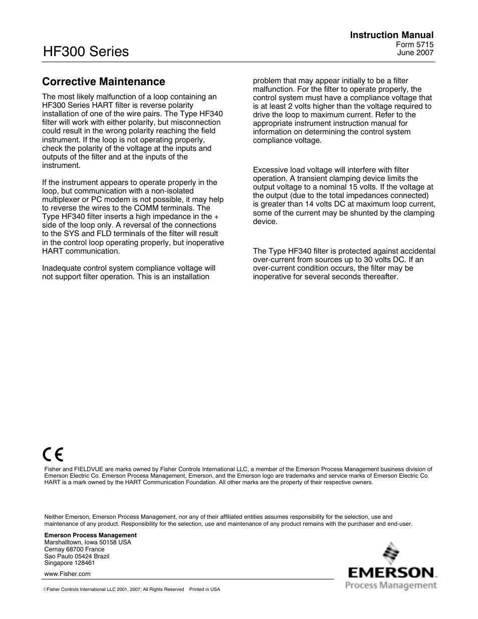 Corrective maintenance, Hf300 series, Instruction manual