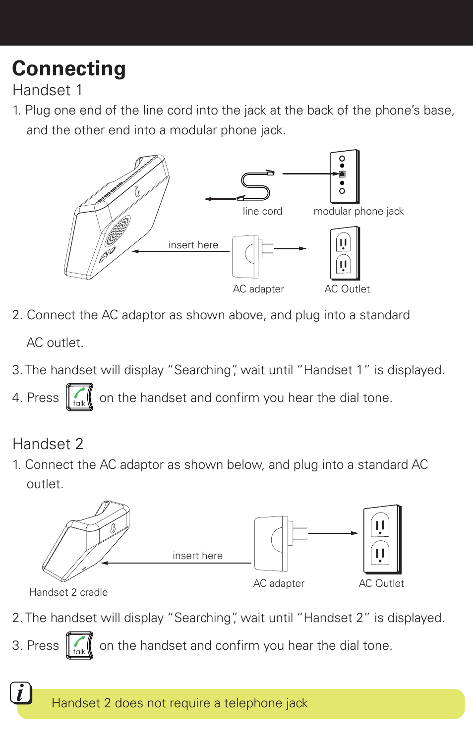 Connecting Rechargeable Battery Warning Handset 1 Emerson Em6120 Modular Phone Jack Wiring Diagram 2 User Manual Page 5 28