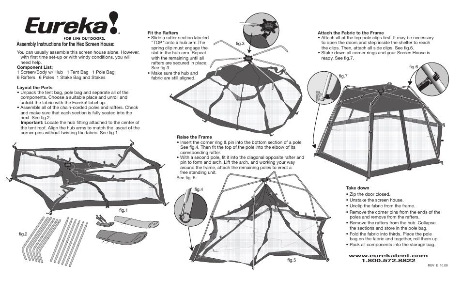 f4dd2c5b3cc Eureka Hex Screen House User Manual | 2 pages