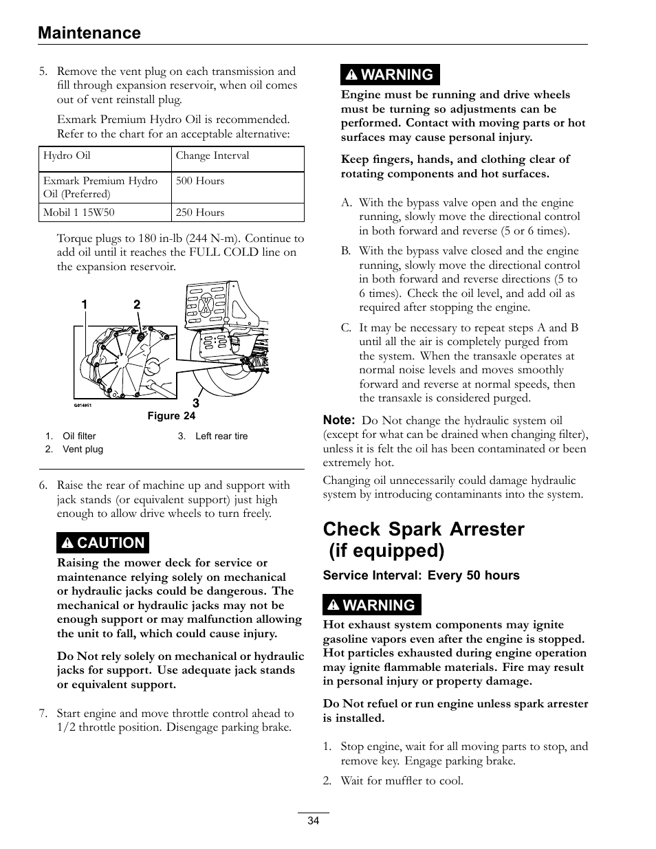 Check spark arrester (if equipped), Maintenance   Exmark