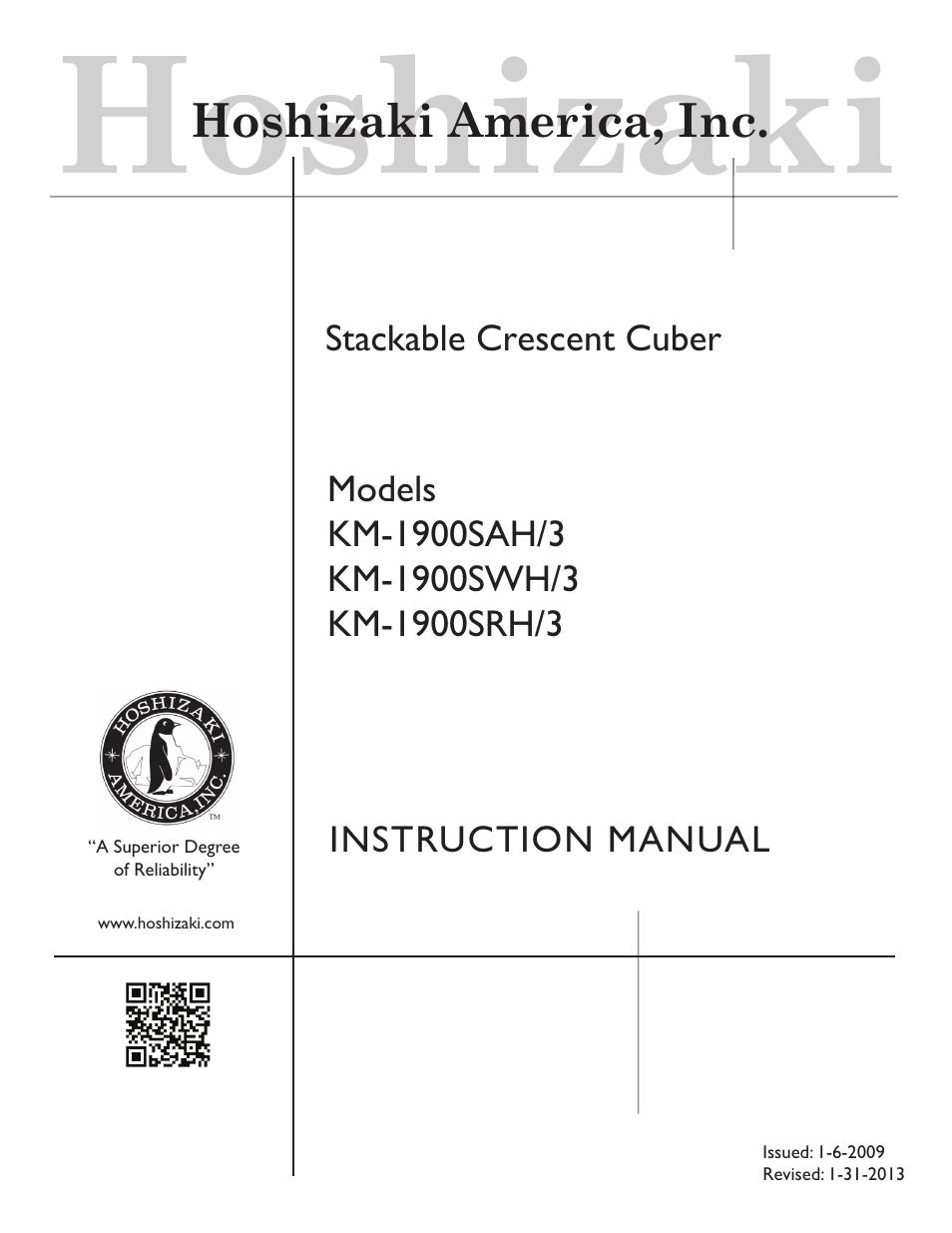 hoshizaki km 1900sah 3 user manual 38 pages also for km 1900swh rh manualsdir com Hoshizaki America Hoshizaki America