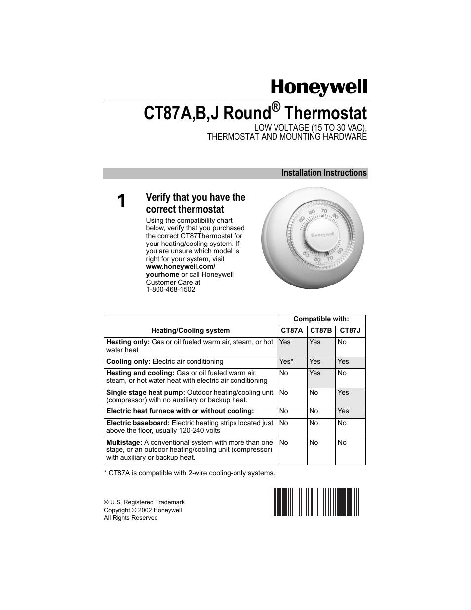 honeywell ct87a user manual