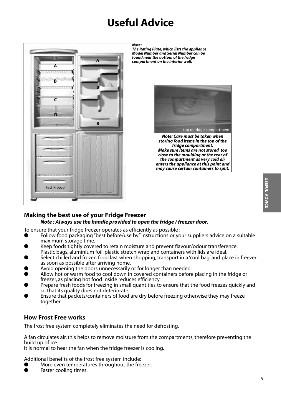 Useful advice, Making the best use of your fridge freezer, How frost free  works