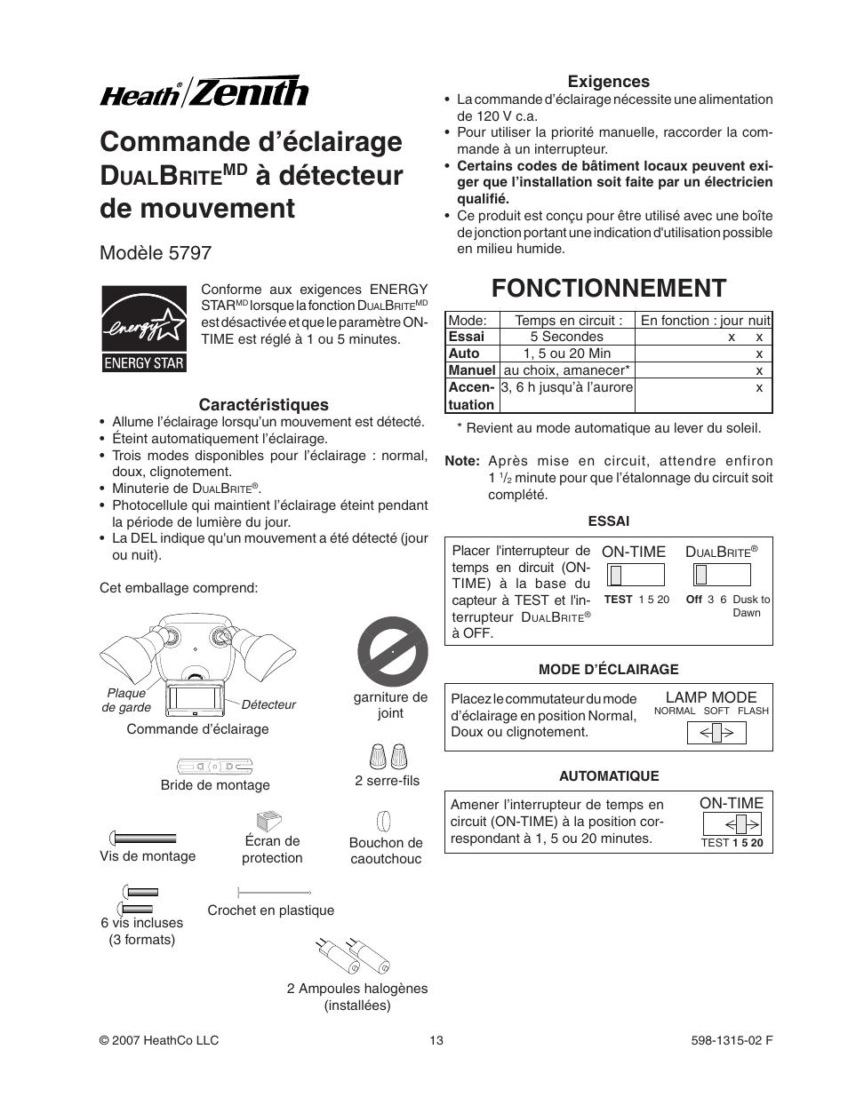 Commande Dclairage D Dtecteur De Mouvement Fonctionnement