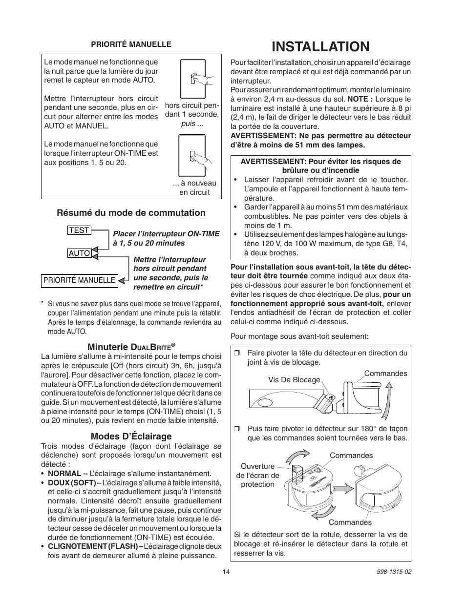 Installation, Résumé du mode de commutation minuterie d, Modes d'éclairage    Heath