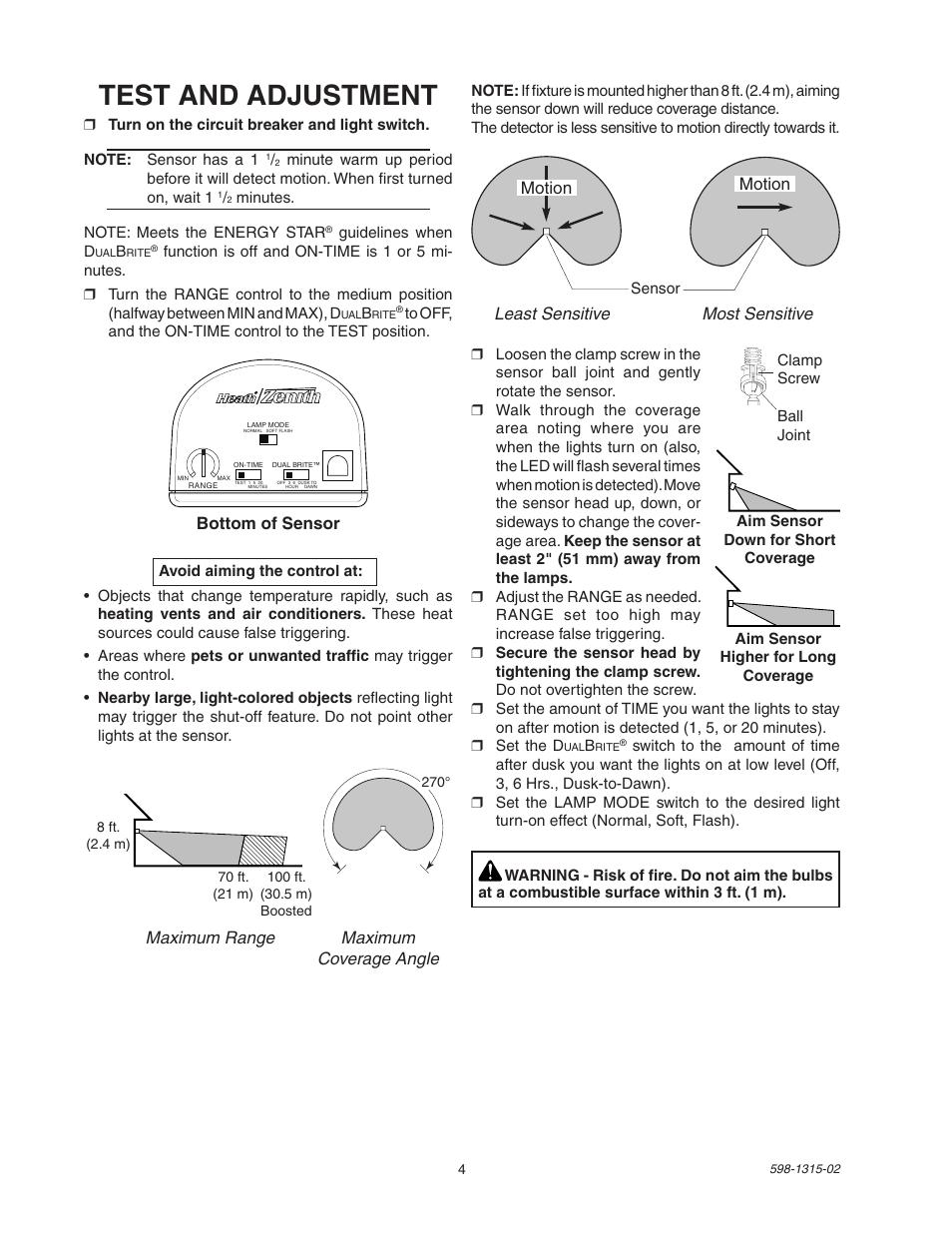 Test and adjustment   Heath Zenith DualBrite Motion Sensor Light Control  5797 User Manual   Page