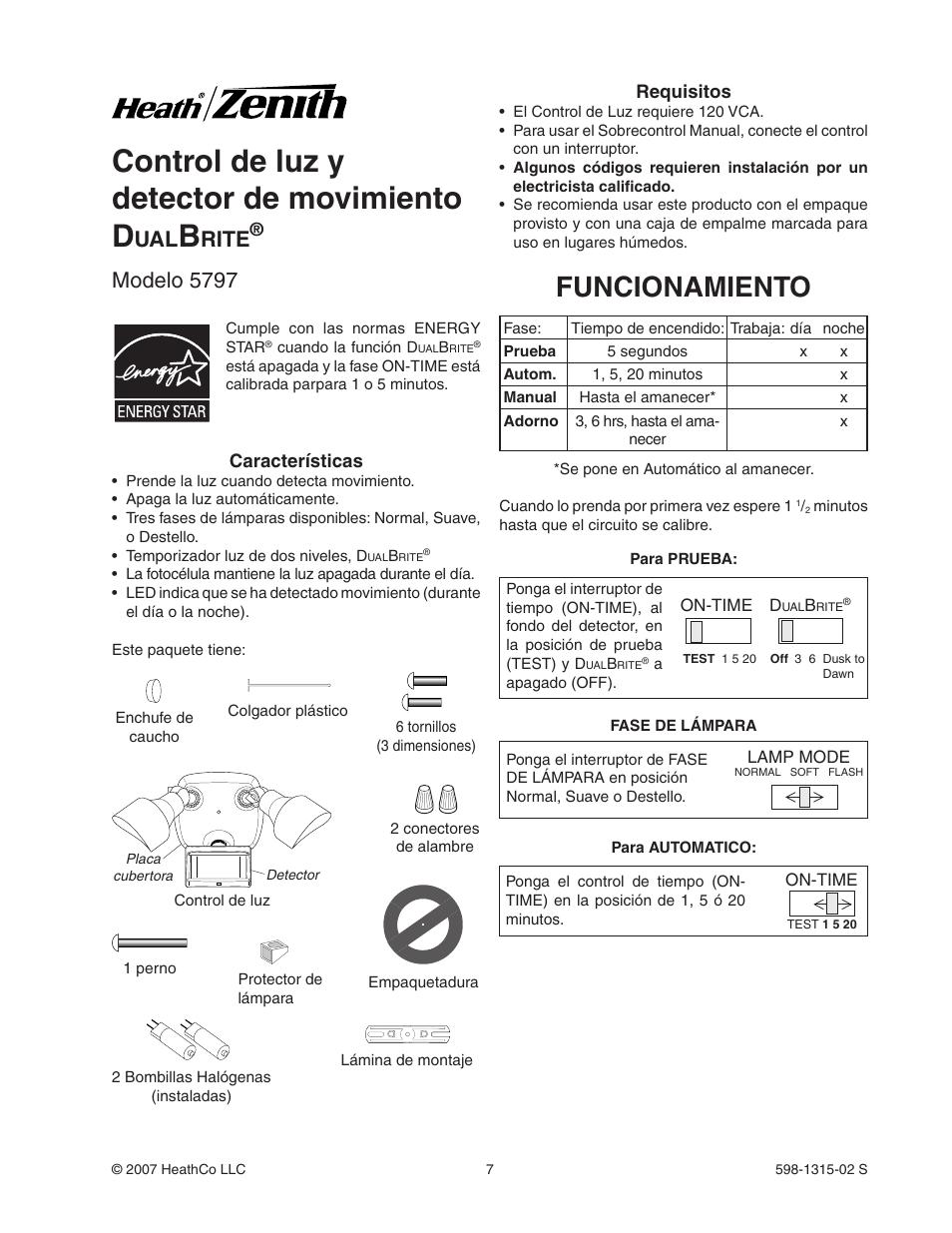 Control De Luz Y Detector De Movimiento D Funcionamiento Rite