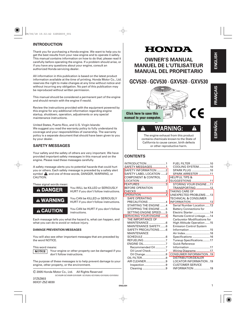 HONDA GXV520 User Manual | 58 pages | Also for: GXV530 ... on
