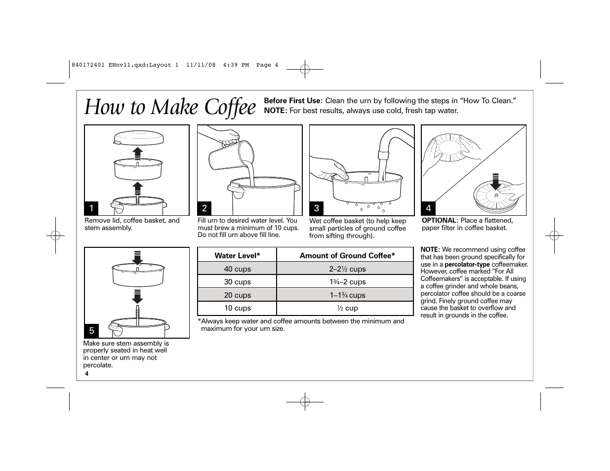 How to make coffee | Hamilton Beach BrewStation 40540 User Manual | Page 4  / 28