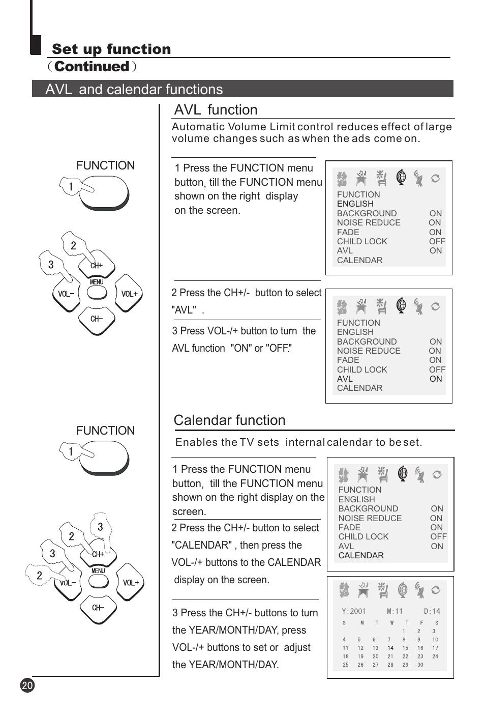 Calendar function, Avl function | haier 29F3A User Manual