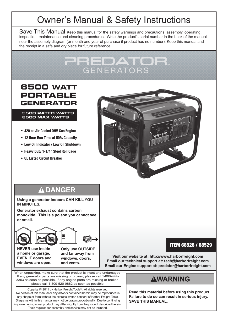 harbor freight tools predator 6500 watt portable generator 68526 page1 harbor freight tools predator 6500 watt portable generator 68526 predator 420cc engine wiring diagram at n-0.co
