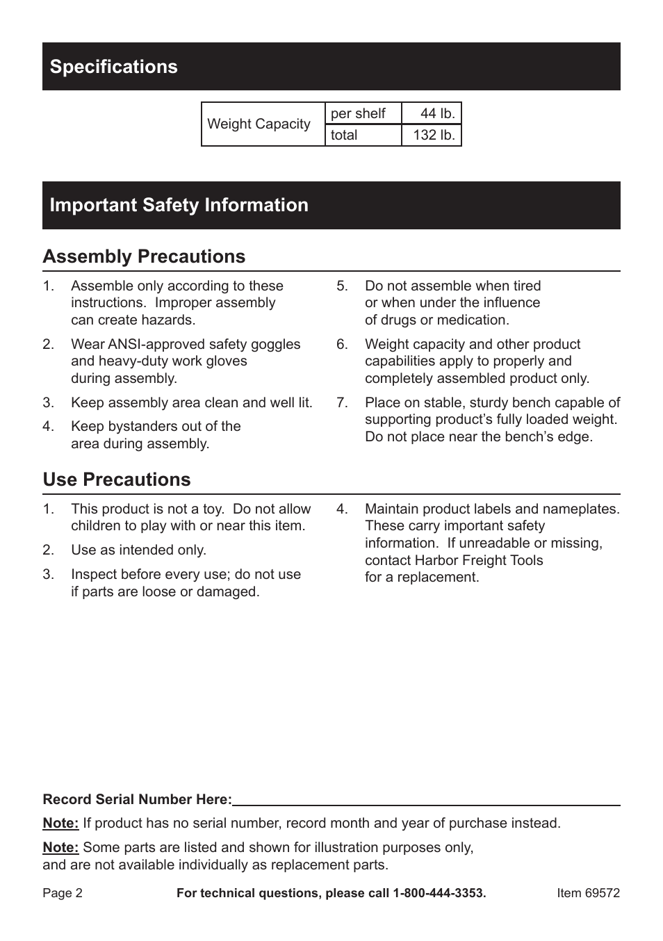 specifications important safety information assembly precautions rh manualsdir com Harbor Freight Catalog Online Harbor Freight 40% Off Coupon