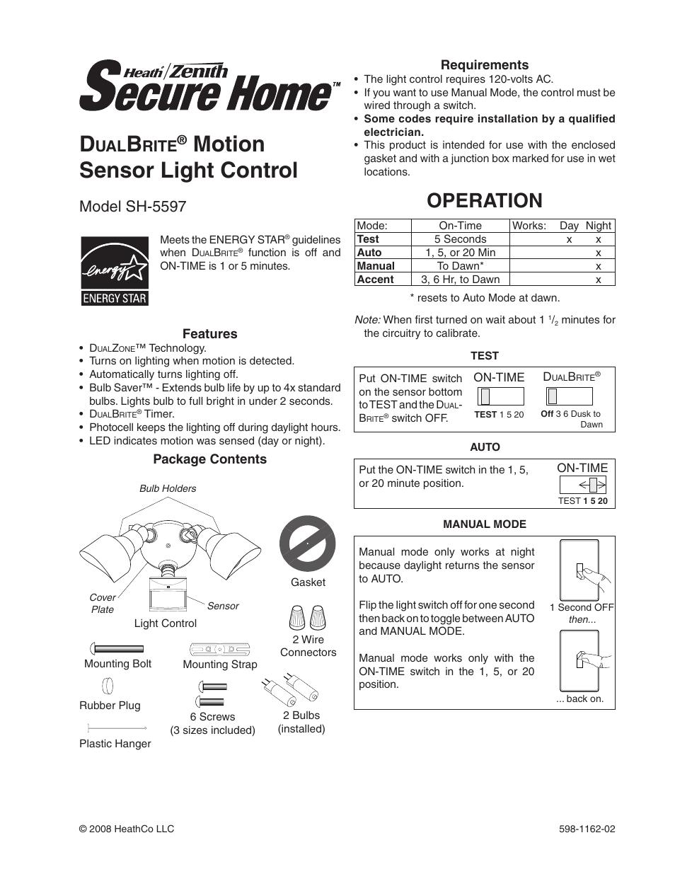 Heath Zenith Dualbrite Motion Sensor Light Control Sh 5597 User Manual 20 Pages
