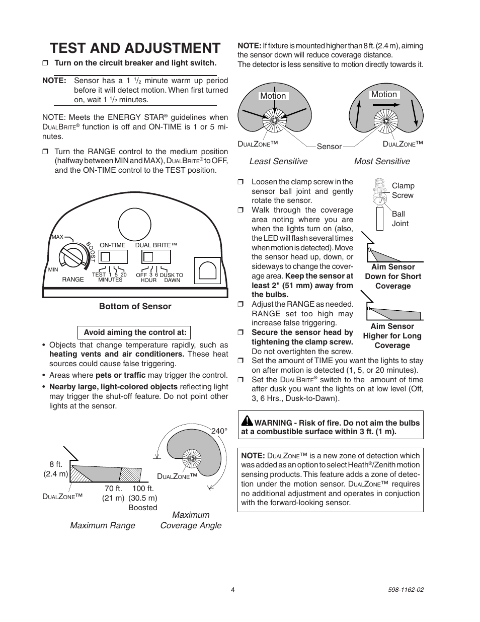 Test And Adjustment Heath Zenith Dualbrite Motion Sensor