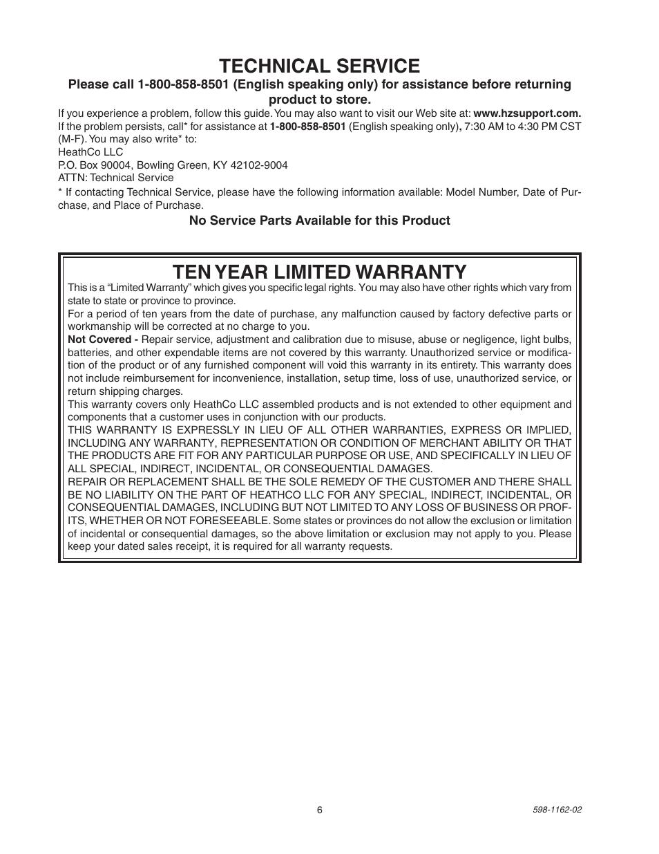 Ten Year Limited Warranty Technical Service Heath