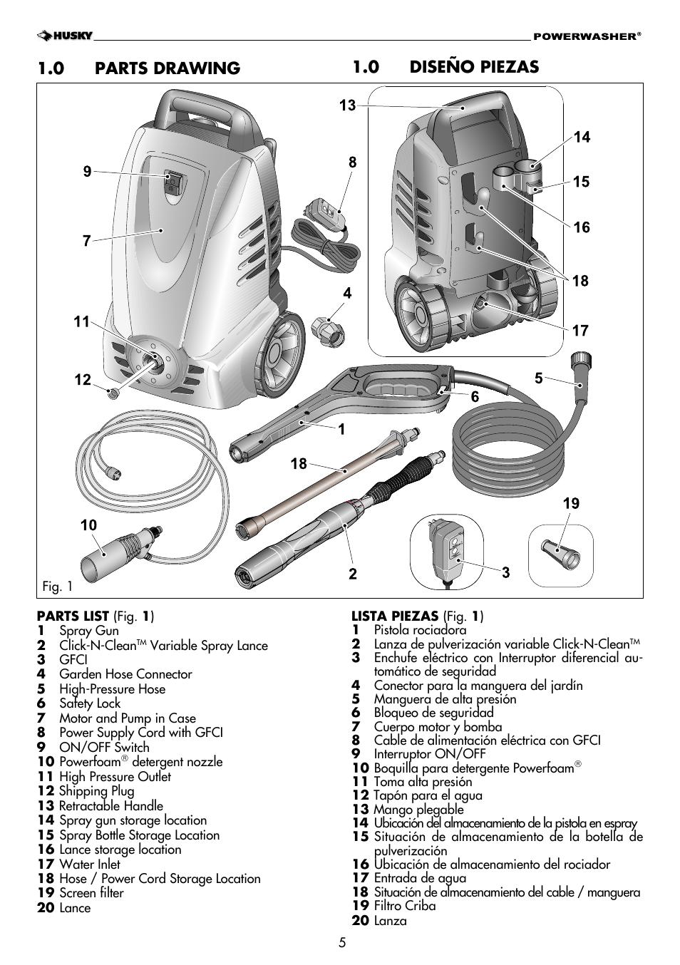 0 parts drawing, 0 diseño piezas | Husky H1600 User Manual | Page