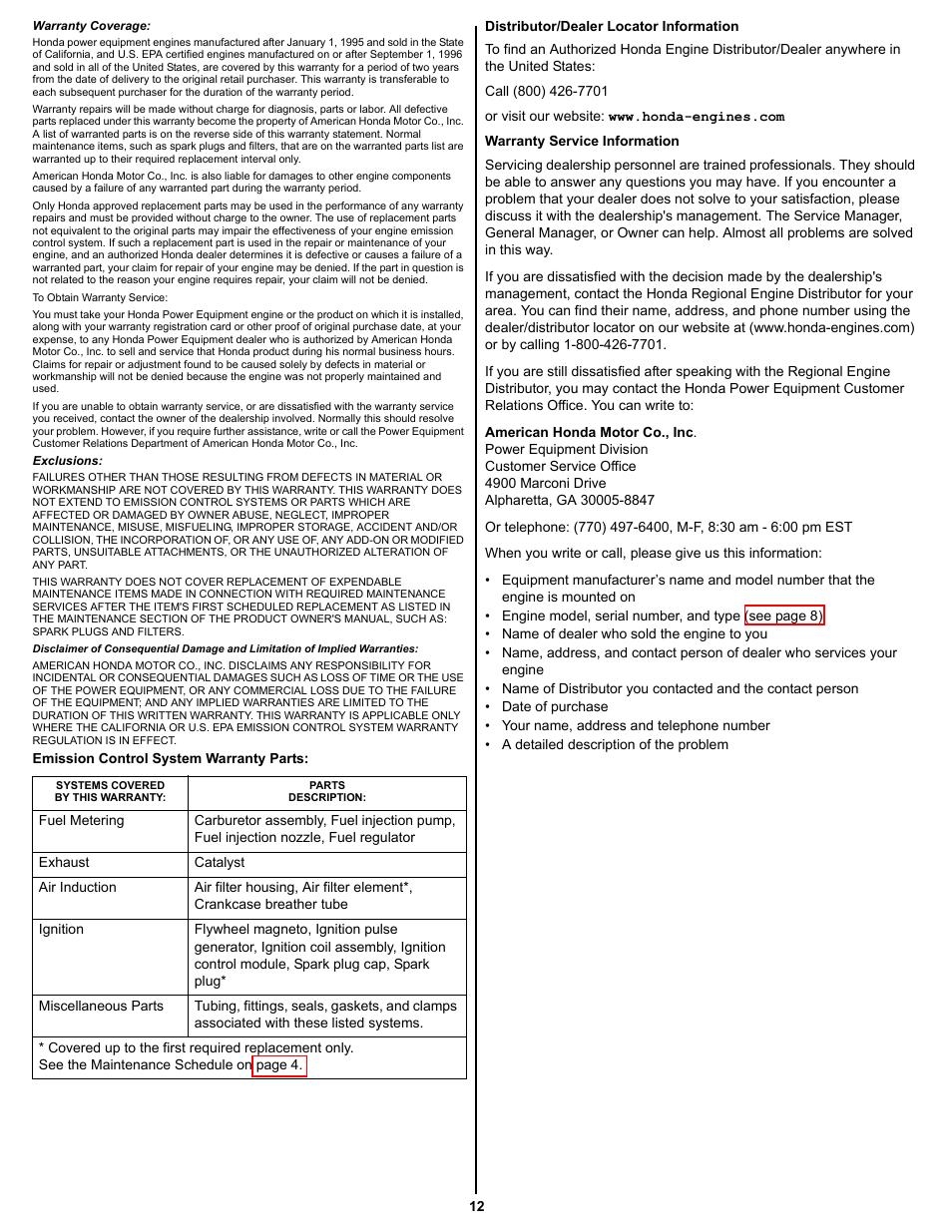 Honda Gxv390 Parts Diagram Schematic Diagrams Gc160 5 0 Engine Spring Warranty Service Information User Manual Page 12 50