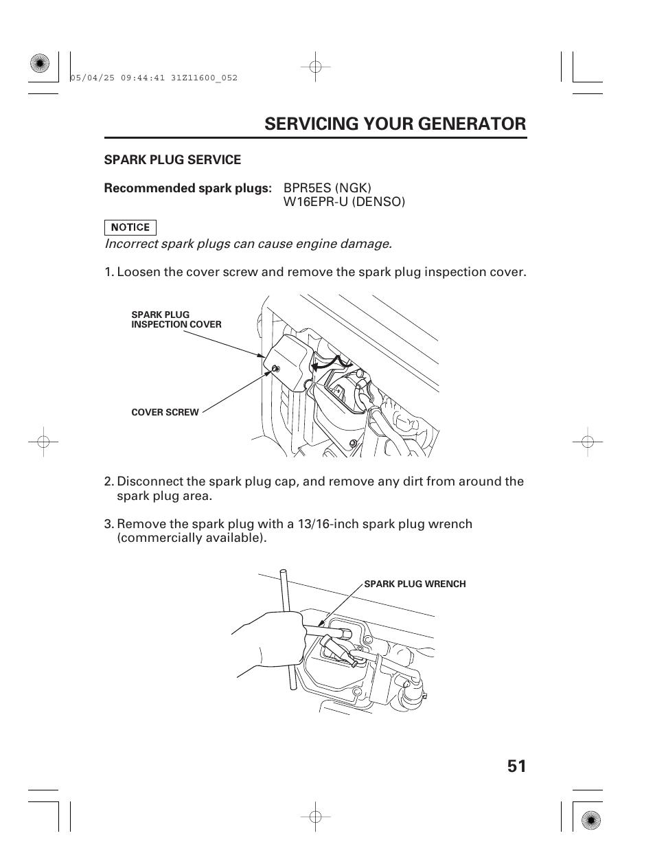 Spark plug service, 51 servicing your generator   HONDA