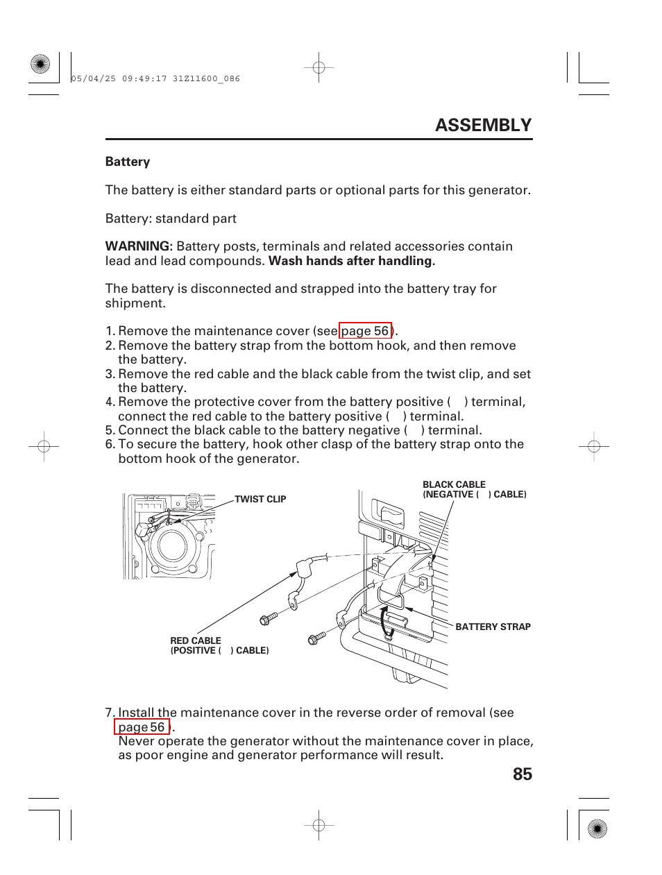 honda em7000is generator carburetor replacement guide Array - battery 85  assembly honda em7000is user manual page 87 100 rh manualsdir ...