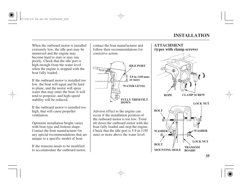 attachment installation honda bf20d user manual page 37 148 rh manualsdir com Honda Motorcycle Manuals manual honda bf20