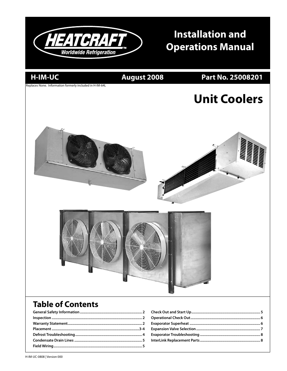 Heatcraft Refrigeration Products Unit Coolers H-IM-UC User Manual ...