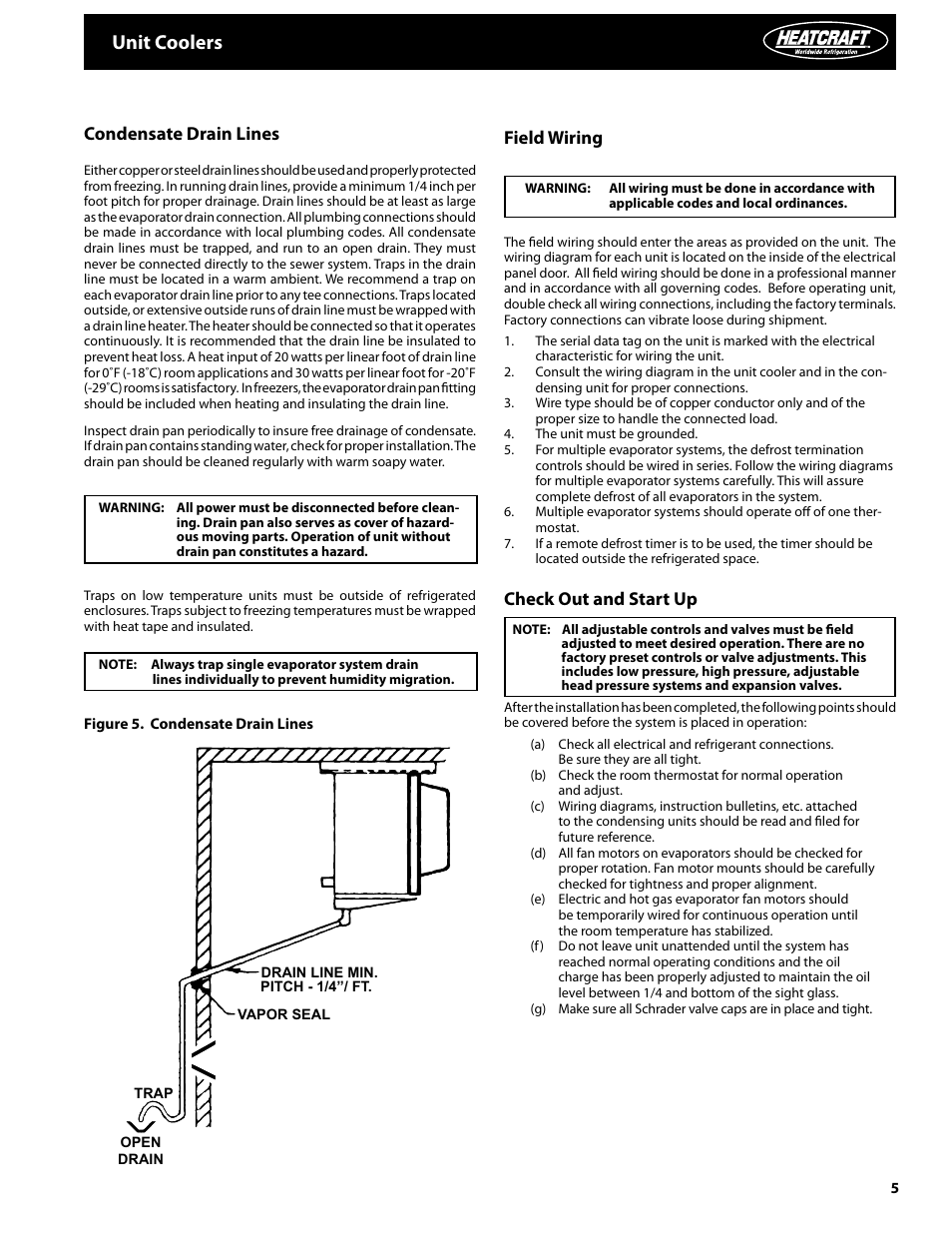 Unit coolers, Condensate drain lines, Field wiring | Heatcraft Refrigeration  Products Unit Coolers H-IM-UC User Manual | Page 5 / 8