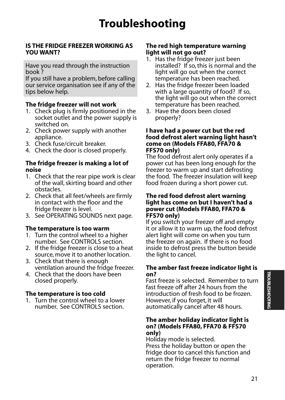 Troubleshooting | Hotpoint FFS70 User Manual | Page 21 / 28