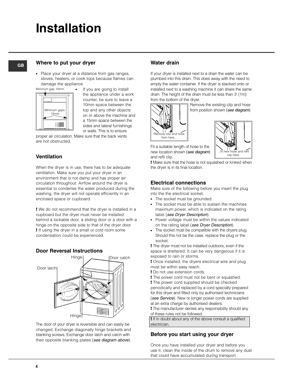 Installation Where To Put Your Dryer Ventilation Hotpoint Tcm570 Ariston Washing Machine Wiring Diagram User Manual Page 4 16
