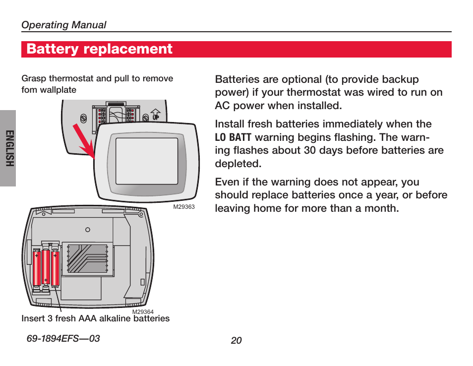 about your new thermostat, battery replacement | honeywell visionpro th8000  series user manual | page 22 / 96