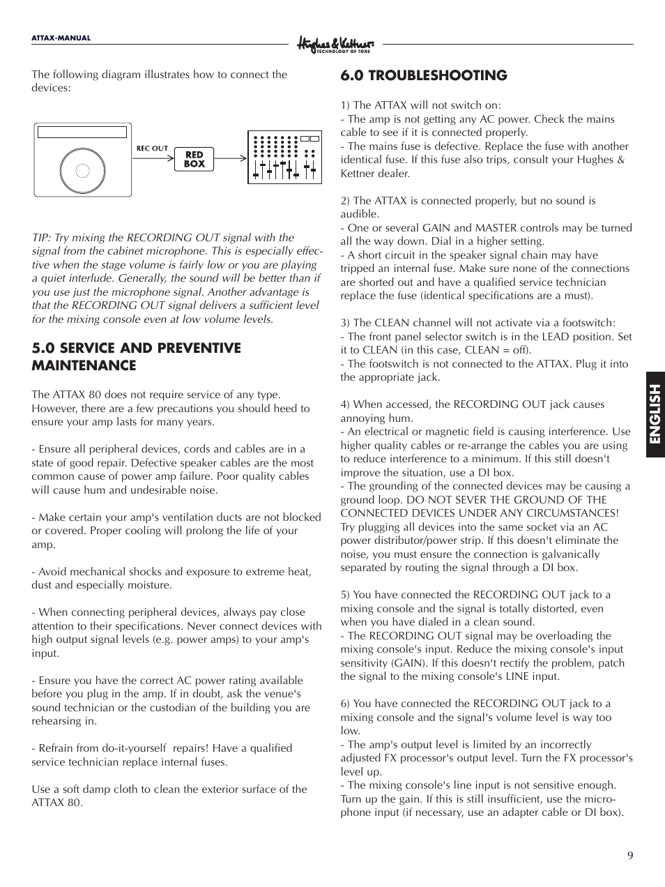 Hughes Kettner Attax 80 User Manual Page 9 36 Electrical Fuses On Red Box