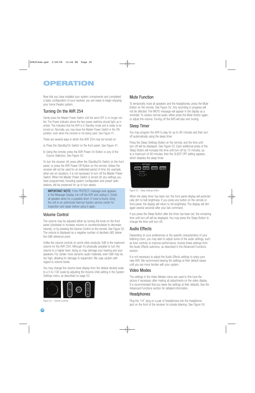 operation harman kardon avr 254 user manual page 38 76 rh manualsdir com Harman Kardon AVR 146 Harman Kardon AVR 235