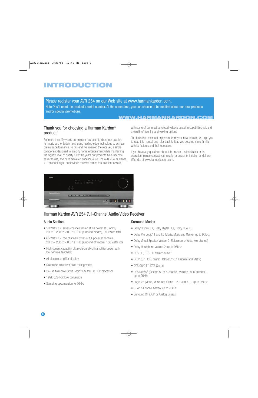 introduction product harman kardon avr 254 user manual page 6 rh manualsdir com AVR 254 Specs Harman Kardon AVR 254 Remote
