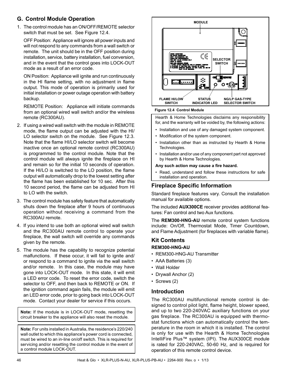 G Control Module Operation Fireplace Specific Information Kit