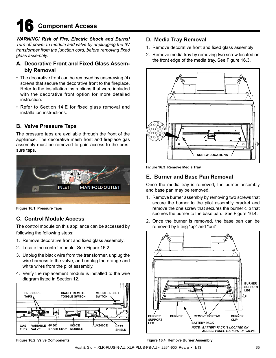 Component Access D Media Tray Removal E Burner And Base Pan Xlr Transformer Wiring Diagram Heat Glo Fireplace Plus Pb Au User Manual Page 65 77