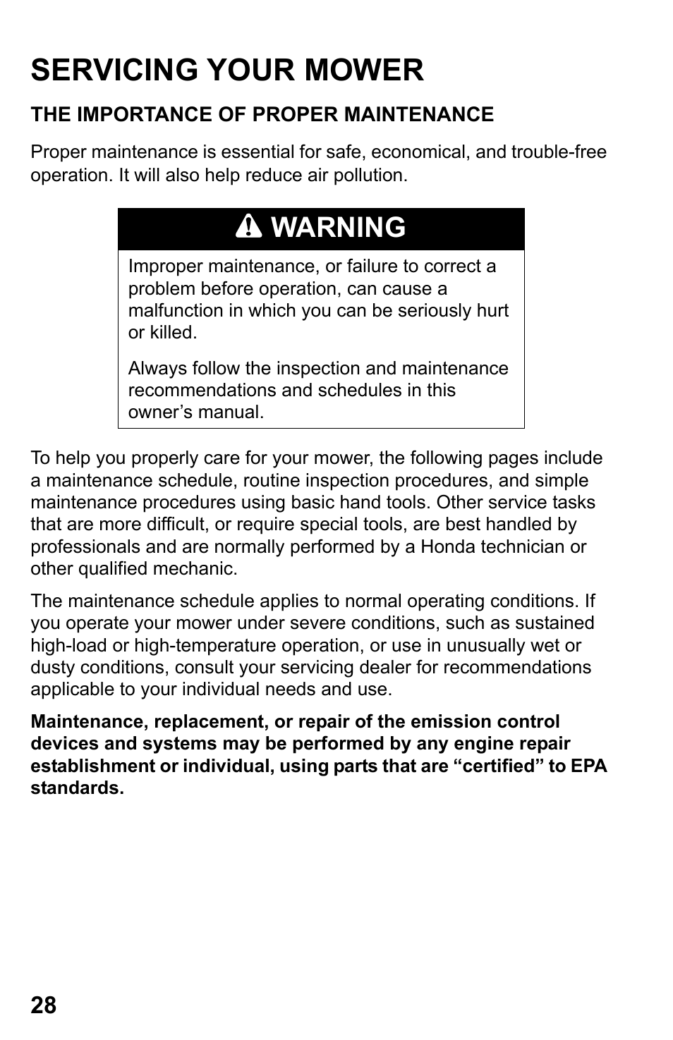 Servicing your mower, The importance of proper maintenance, Warning | HONDA  HRR216TDA User Manual | Page 30 / 72
