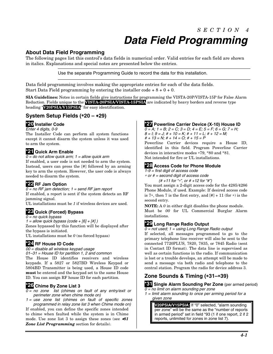 Data field programming, About data field programming | Honeywell VISTA-20P  User Manual |