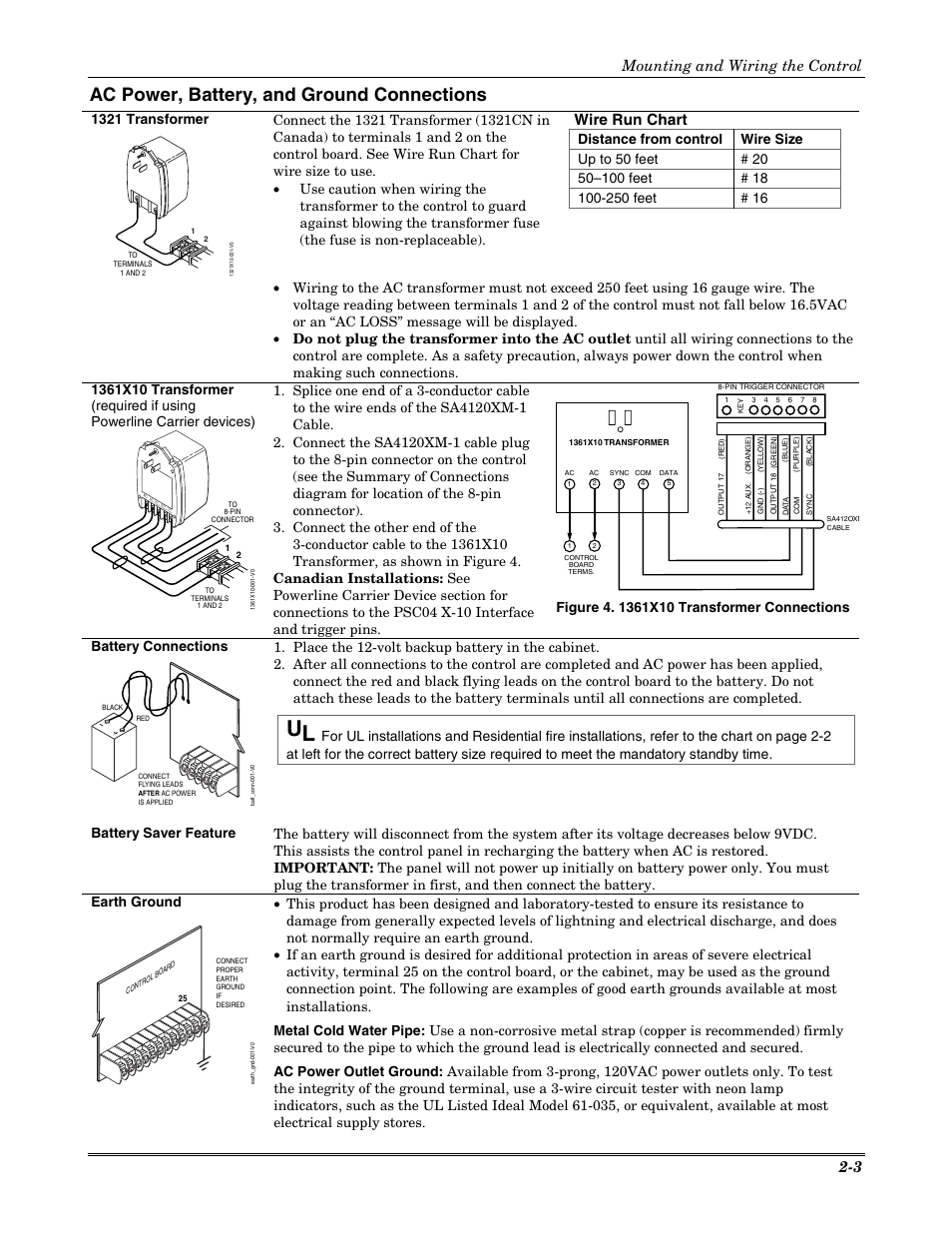 Ac power battery and ground connections wire run chart mounting ac power battery and ground connections wire run chart mounting and wiring the control 2 3 honeywell vista 20p user manual page 9 80 greentooth Image collections