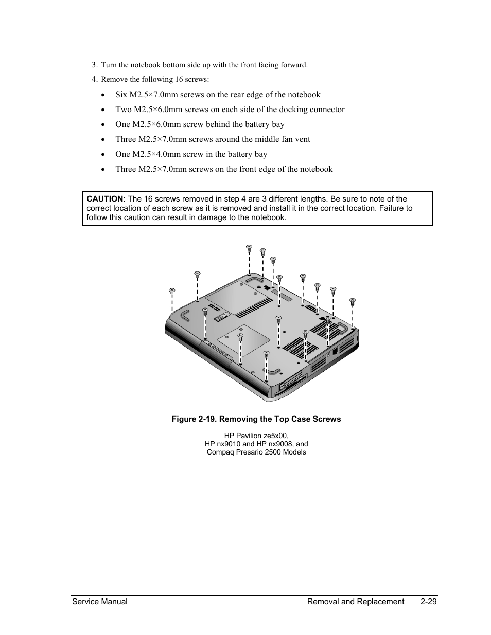 Figure 2-19. removing the top case screws -29 | HP PAVILION NX9005