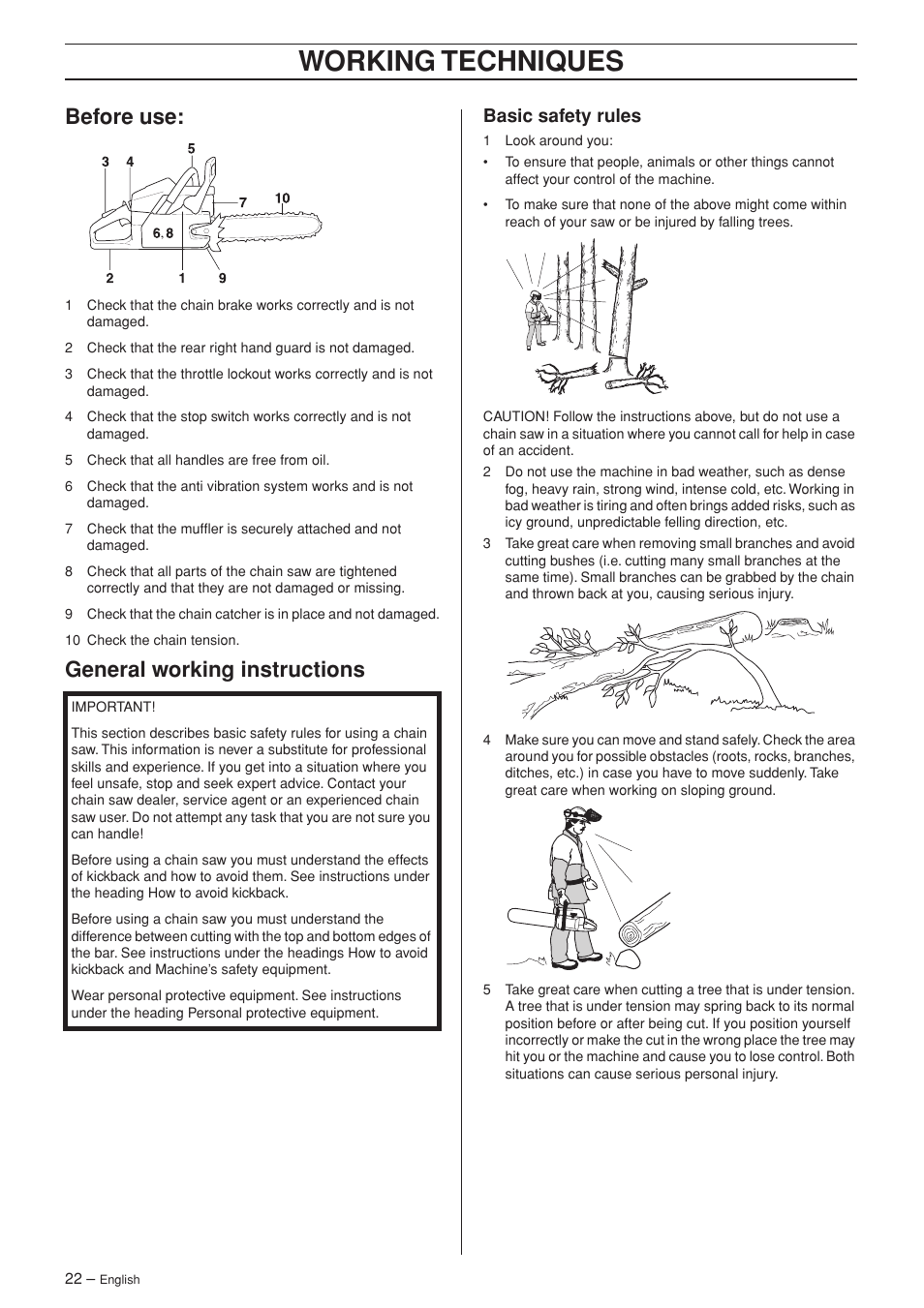 Before use, General working instructions, Basic safety rules | Working  techniques | Husqvarna 372XP