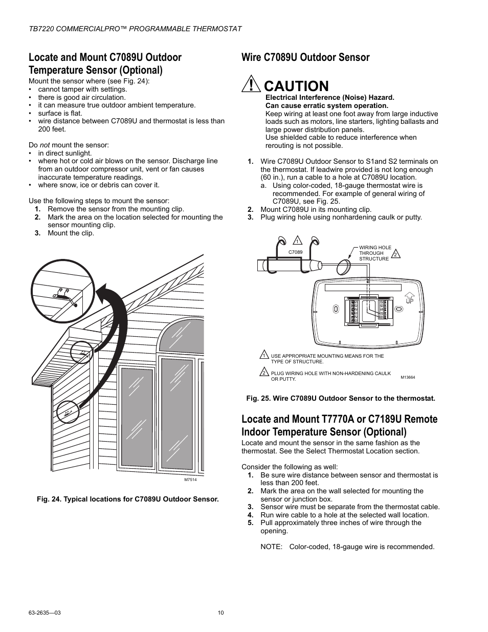 Wire C7089u Outdoor Sensor Caution Honeywell Commercialpro Tb7220 Phone Line Wiring User Manual Page 10