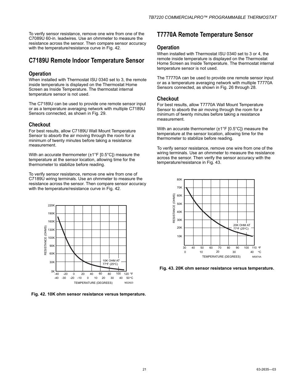 c7189u remote indoor temperature sensor  t7770a remote