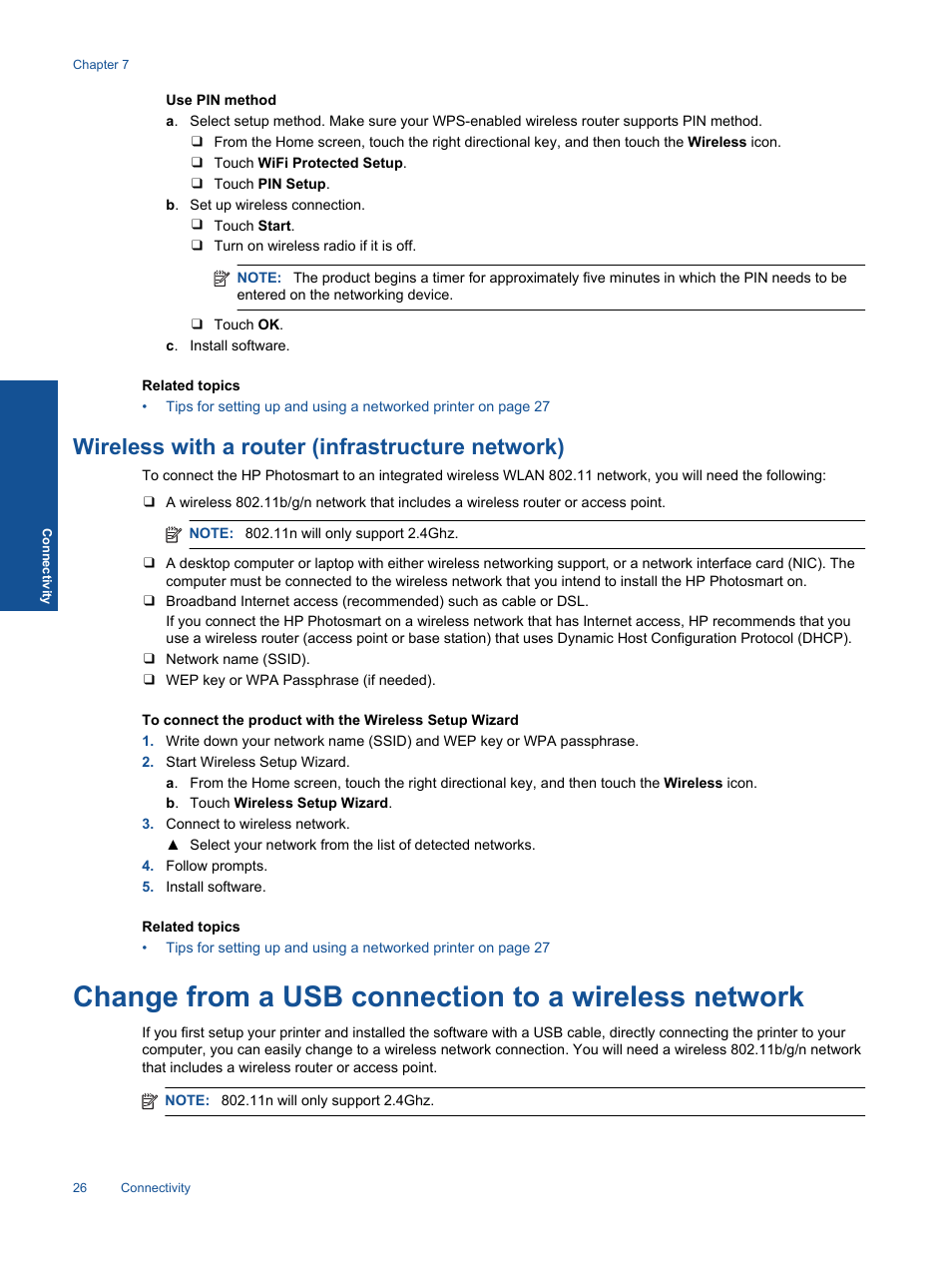 Wireless with a router (infrastructure network), Change from