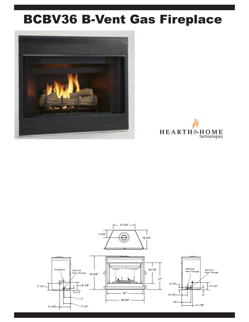Hearth and Home Technologies B-Vent Gas Fireplace BCBV36 User ...