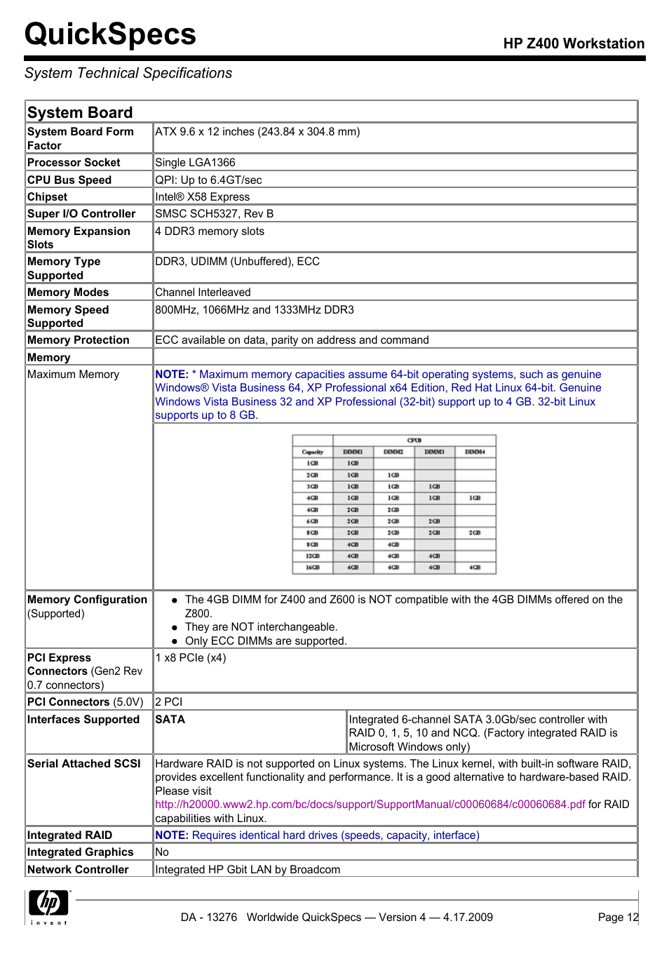 System technical specifications, Quickspecs, System board