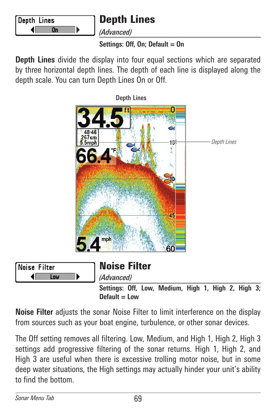 Depth lines, Noise filter | Humminbird 596C HD DI User