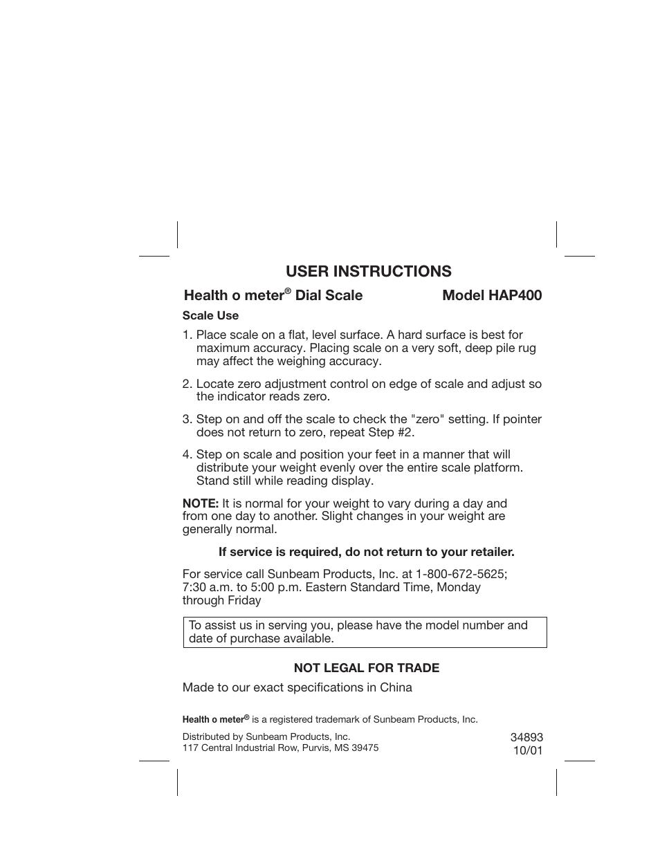 Health O Meter Hap400 User Manual 1 Page