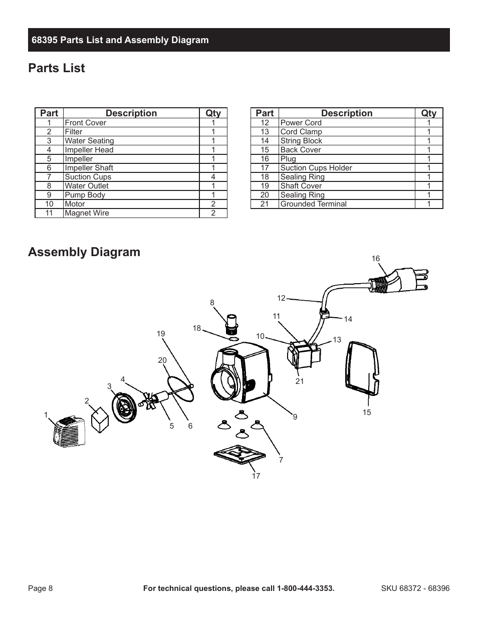 parts list assembly diagram